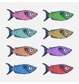 Hand drawn sketch set of fish vector image