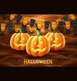 happy halloween poster jack lanterns gourd vector image