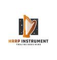 harp musical instrument logo vector image vector image