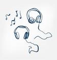 headphones sketch isolated design vector image vector image