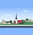 horizontal landscape with town neighborhood with vector image