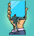 man gets into the smartphone vector image vector image