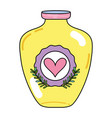 mason jar with heart sticker and branches style vector image vector image