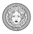 medusa gorgon head on a shield hand drawn line art vector image vector image