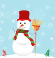 Merry christmas background with snowman vector image vector image