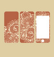 mobile phone cover back and screen pattern vector image vector image