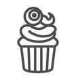 muffin witth eye on top line icon halloween vector image
