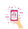 online dating app match on screen vector image