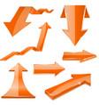 orange 3d arrows shiny icons vector image vector image