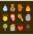 pixel art isolated icons vector image vector image