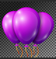 realistic violet balloons with ribbons isolated vector image vector image