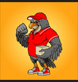 red hawk courier delivery mascot vector image vector image