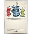 Retro frame with cup of tea vector image