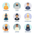 round avatars set with pictures religion vector image vector image