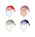 santa claus in red cap with pompon mustache with a vector image vector image