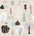 seamless pattern hedgehogs with treesfloral vector image