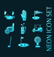 set golf blue glowing neon icons vector image