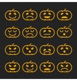 Set of orange pumkin emoticons emoji and avatar vector image vector image