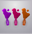 spilled some nail polishes on light background vector image vector image