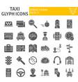taxi glyph icon set car symbols collection vector image vector image