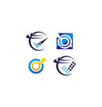 technology connection logo set vector image vector image