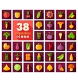Vegetables flat icons set vector image vector image