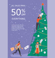 vertical banner for christmas sale vector image