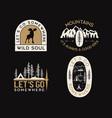 vintage camp logos mountain adventure badges set vector image vector image