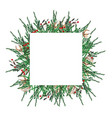 watercolor christmas frame square shape template vector image vector image