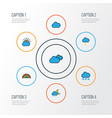 weather colorful outline icons set collection of vector image vector image