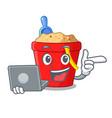 with laptop beach bucket shape sand cartoon