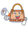 with megaphone hand bag character cartoon vector image vector image