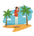 beauty woman tourist beach landscape image vector image