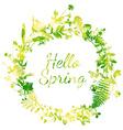 Spring watercolor wreath vector image