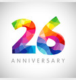 26 anniversary colorful facet logo vector image vector image