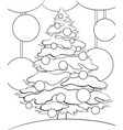 adult coloring bookpage a fir tree with christmas vector image vector image