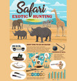 african safari hunting equipment infographics vector image
