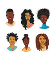 afro african american black womens mens portraits vector image vector image