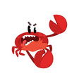 angry crab character cute sea creature with funny vector image vector image
