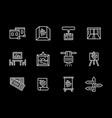 art showroom white line icons set vector image vector image