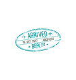 berlin airport oval arrival stamp plane and date vector image vector image