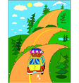 car trip on vacation on a mountain road vector image vector image