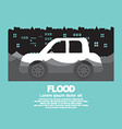 Cars Side View In A Flood vector image vector image