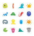 cartoon bacteria characters icon set vector image vector image