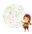 cartoon little girl artist