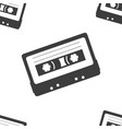 cassette magnetic tape seamless pattern black and vector image