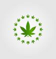 circle cannabis marijuana hemp leaf silhouette vector image vector image