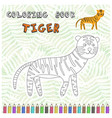 cute cartoon tiger silhouette for coloring book vector image