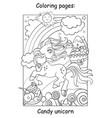cute unicorn on shugar land coloring vector image