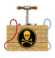 detonating fuse with danger sign skull symbol vector image